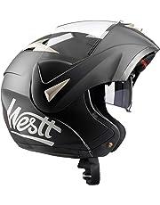 Westt® Torque · Casque Moto Modulable Double Visière en Noir Mat pour Scooter Chopper · Casque de Moto Homme et Femme · ECE Homologué