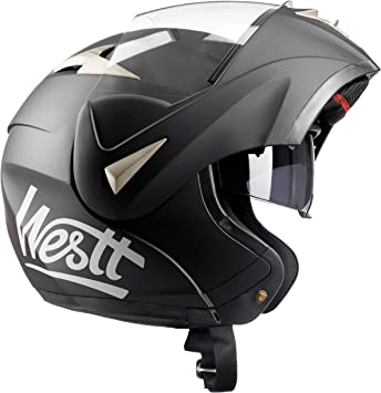 Westt/® Torque /· Flip Up Full Face Motorbike Helmet in Matte Black with Double Visor /· Crash Helmets Motorcycle Moped Scooter /· ECE Certified