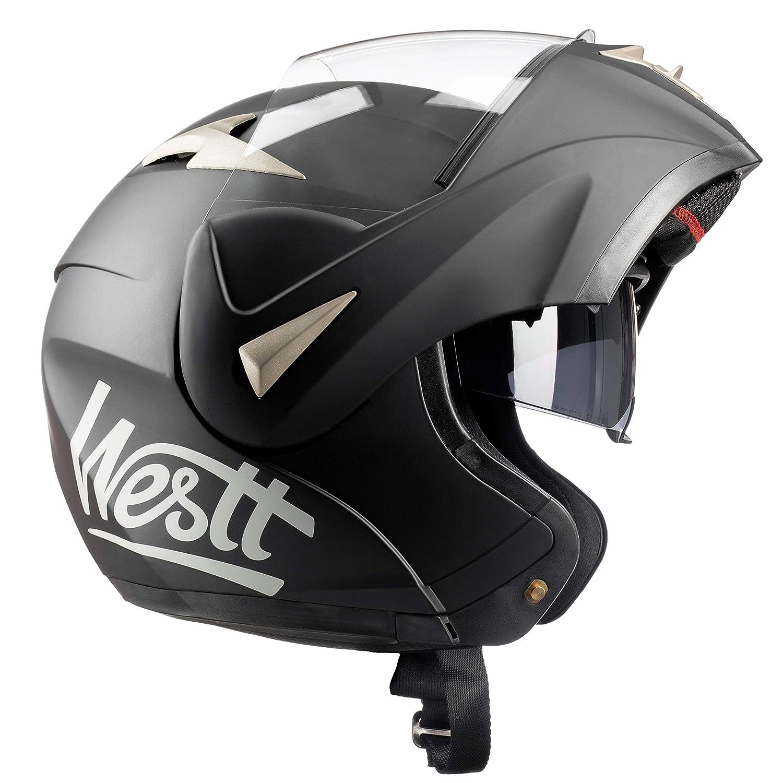 Westt® Torque · Schwarzer Motorradhelm mit Doppelvisier - Klapphelme ECE genehmigt Westt Ventures SL W-103A