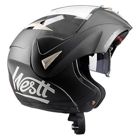 Westt® Torque · Casco Moto Modular con Doble Visera para Ciclomotor Motocicleta y Scooter ·