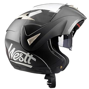 Westt® Torque · Casco Modular de Moto en Negro Mate con Doble Visor - ECE