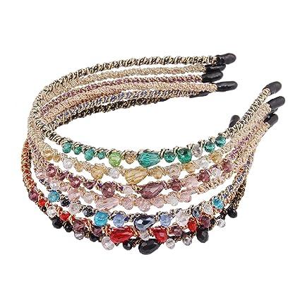 17e977773008 Candygirl 7 Pièces Décoration Bijoux Cristal Perle Paillettes Serre-tête  Femme Fille Bandeaux Cheveux Accessoire