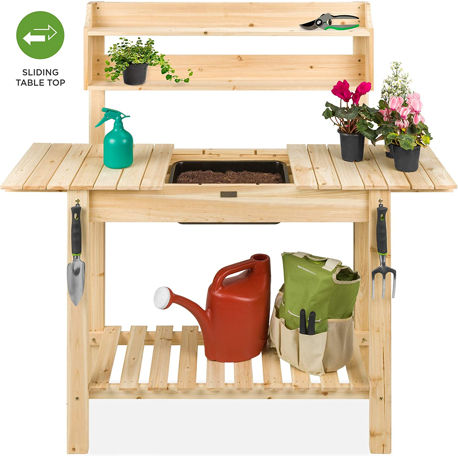 Lakewood 3 Person Swing, Amazon Com Best Choice Products Outdoor Wood Garden Potting Bench Workstation Table W Sliding Tabletop Food Grade Dry Sink Storage Shelves Natural Garden Outdoor