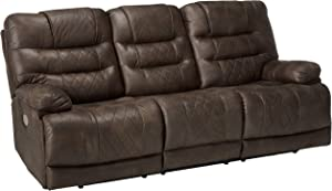 Signature Design by Ashley - Welsford Faux Leather Power Reclining Sofa - Adjustable Headrest - Dark Brown