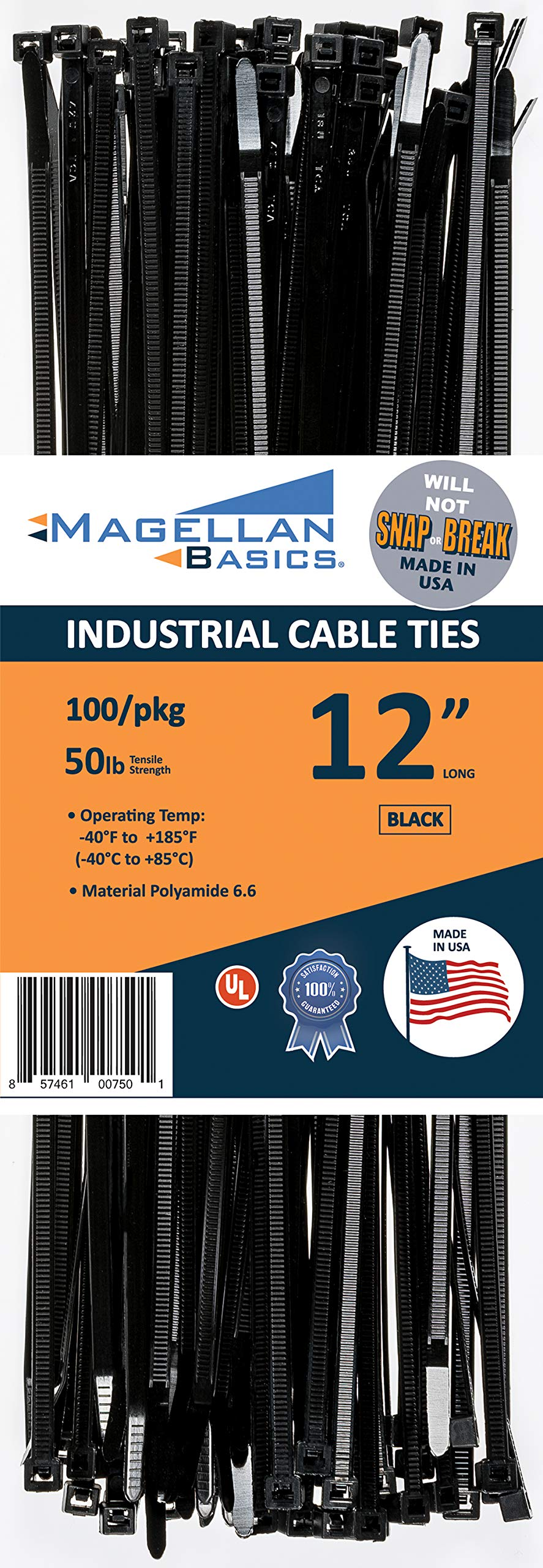 100 Pack Cable Zip Ties Heavy Duty Made in The USA 12 inch, Black