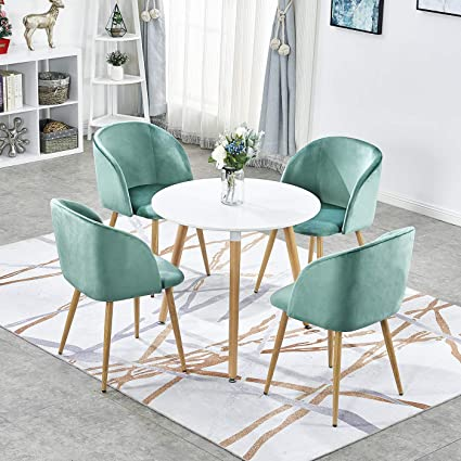 Green Round Table.Gizza Wood Dining Table And 4 Armchairs Silk Velvet Tub Accent