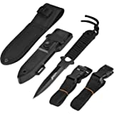 BOffer Scuba Diving Knife Double Edge with Nylon and ABS Sheaths - Black Fixed Blade Tactical Sharp knives with Edge…