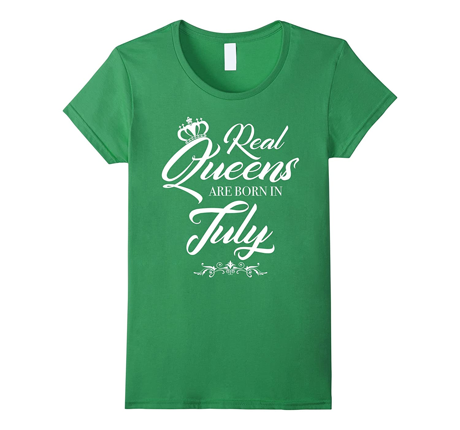 Womens Real Queens Are Born in July NewStyle White C3 T-shirt-TH