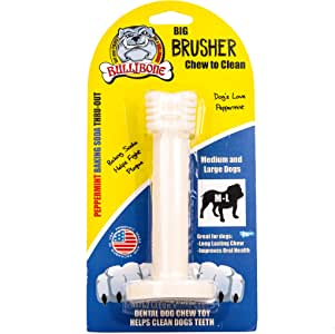 Bullibone Brusher: Dog Teeth Cleaning Bristly Brushing Toothbrush Stick - Long Lasting Nylon Peppermint Dog Dental Chew Toy for Oral Care and Dental Health, for Large and Medium Dogs
