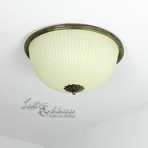 Vintage Deckenlampe 2xE27 Ø38cm Metall Braun Gold Glas Creme ...