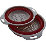 Kitchen Maestro Collapsible Silicone Colander/Strainer. Includes 2 Sizes 8 and 9.5 inch. … (Red)