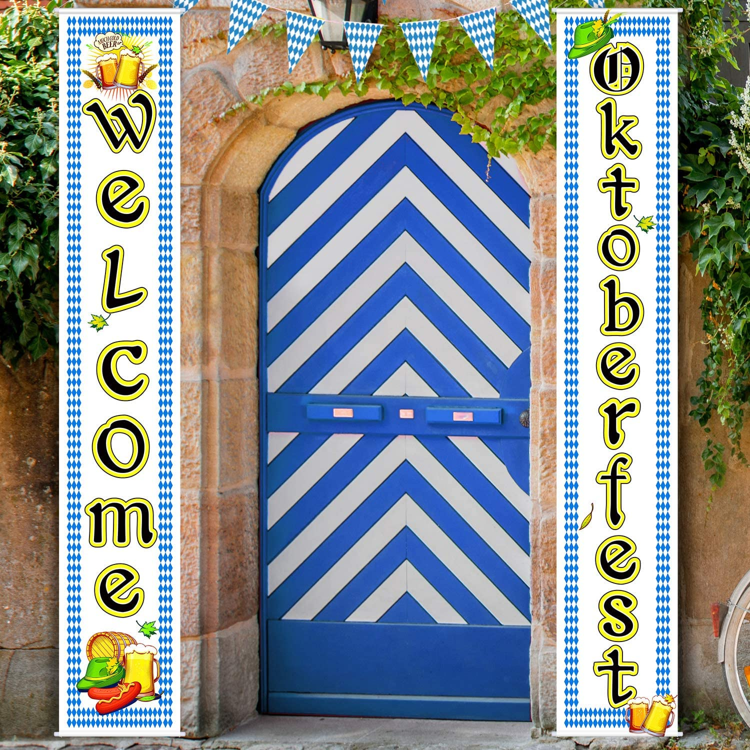 Oktoberfest Decorations Bavarian Flag Oktoberfest Sign Oktoberfest Porch Sign Welcome Banner for German Theme Parade Decoration Beer Festival Banner Party Accessory (Blue, 12 x 72 Inch)