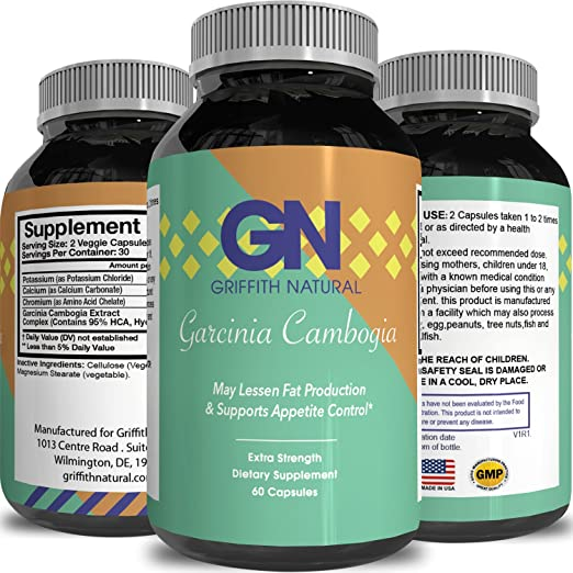 100% PURE GARCINIA CAMBOGIA EXTRACT ✿ Potent HCA ✿ Weight loss pills + Appetite Suppressant ✿ Best Supplement for men and women – premium mg Capsules that work FAST - California Products 60capsules