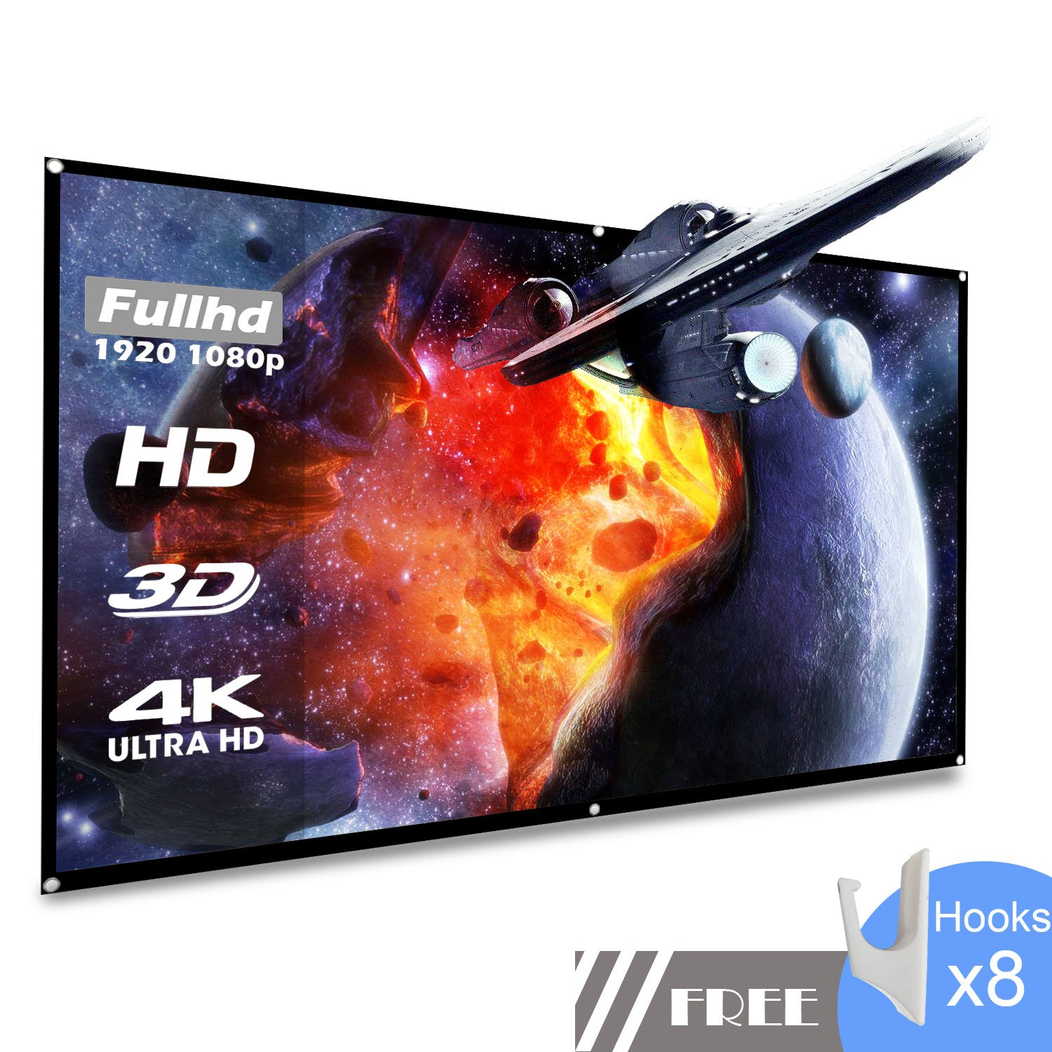 koogoo Projection Projector Screen 100 Inch HD 16:9, Portable Foldable Indoor Outdoor Movie Screen,Support Double Sided Projection, Suitable for HDTV/Sports/Movies/Presentations (100 inch)