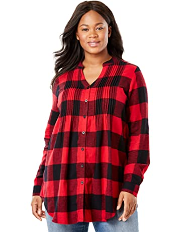 906ec51473363 Woman Within Women s Plus Size Pintucked Flannel Shirt