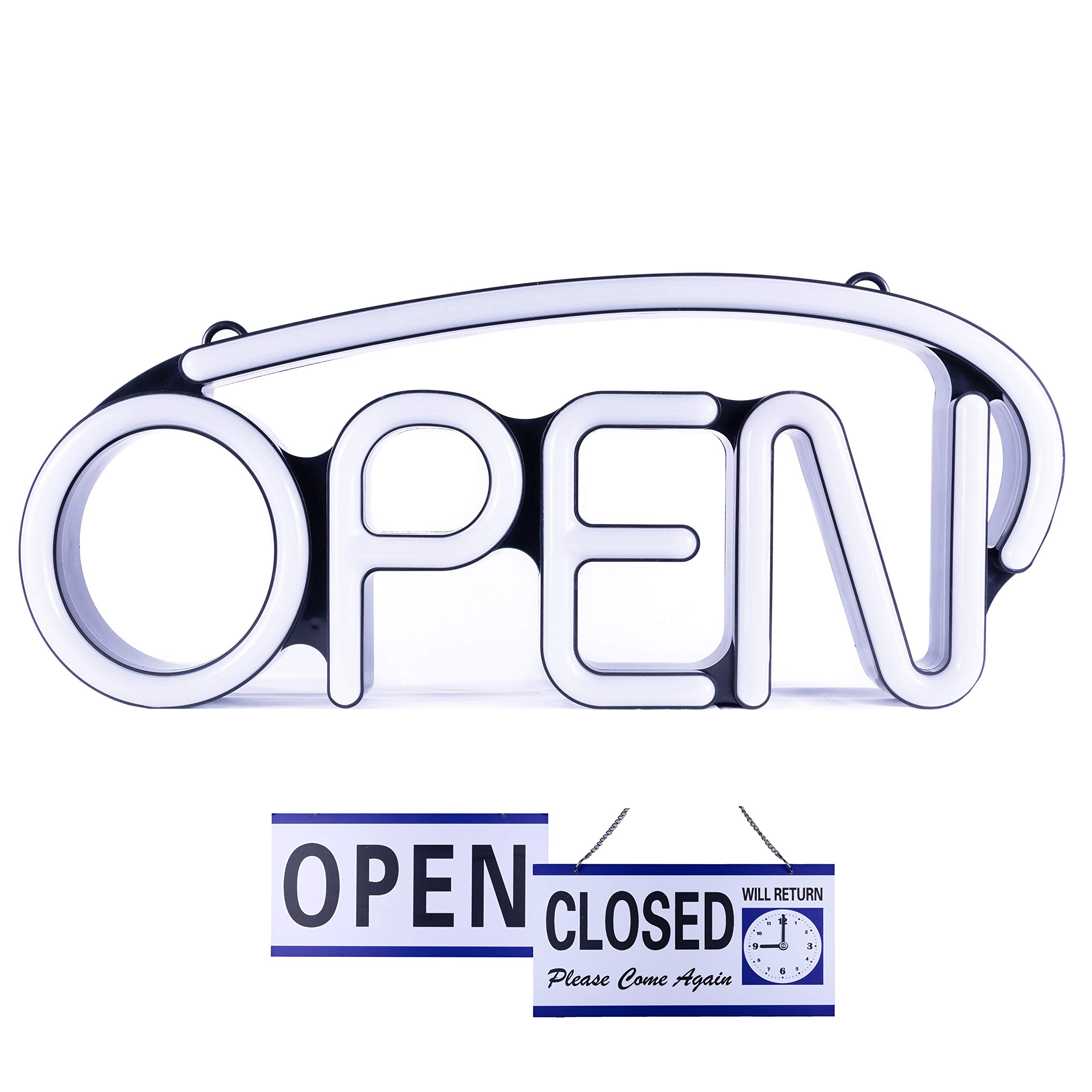 LED Neon Open Sign for Business - Bright White | Large for Business Displays 22.5'' x 9.5'' | Unique Modern Design | Five Steady and Flashing Modes | Includes Extra Will Return Open Closed Clock Sign