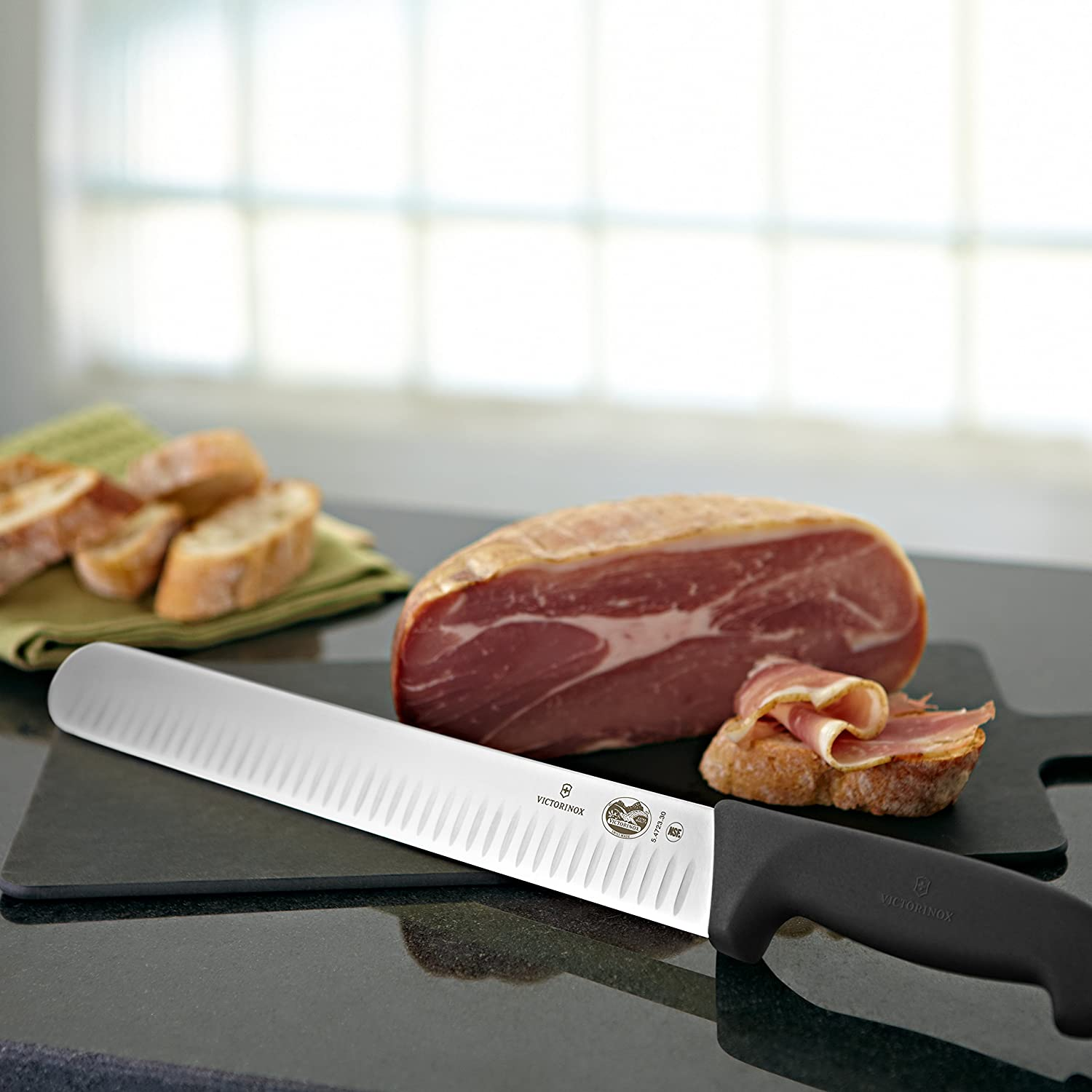 12-Inch Granton Blade Victorinox Swiss Army - 47645 Cutlery Fibrox Pro Slicing Knife Besides Roasted Meat