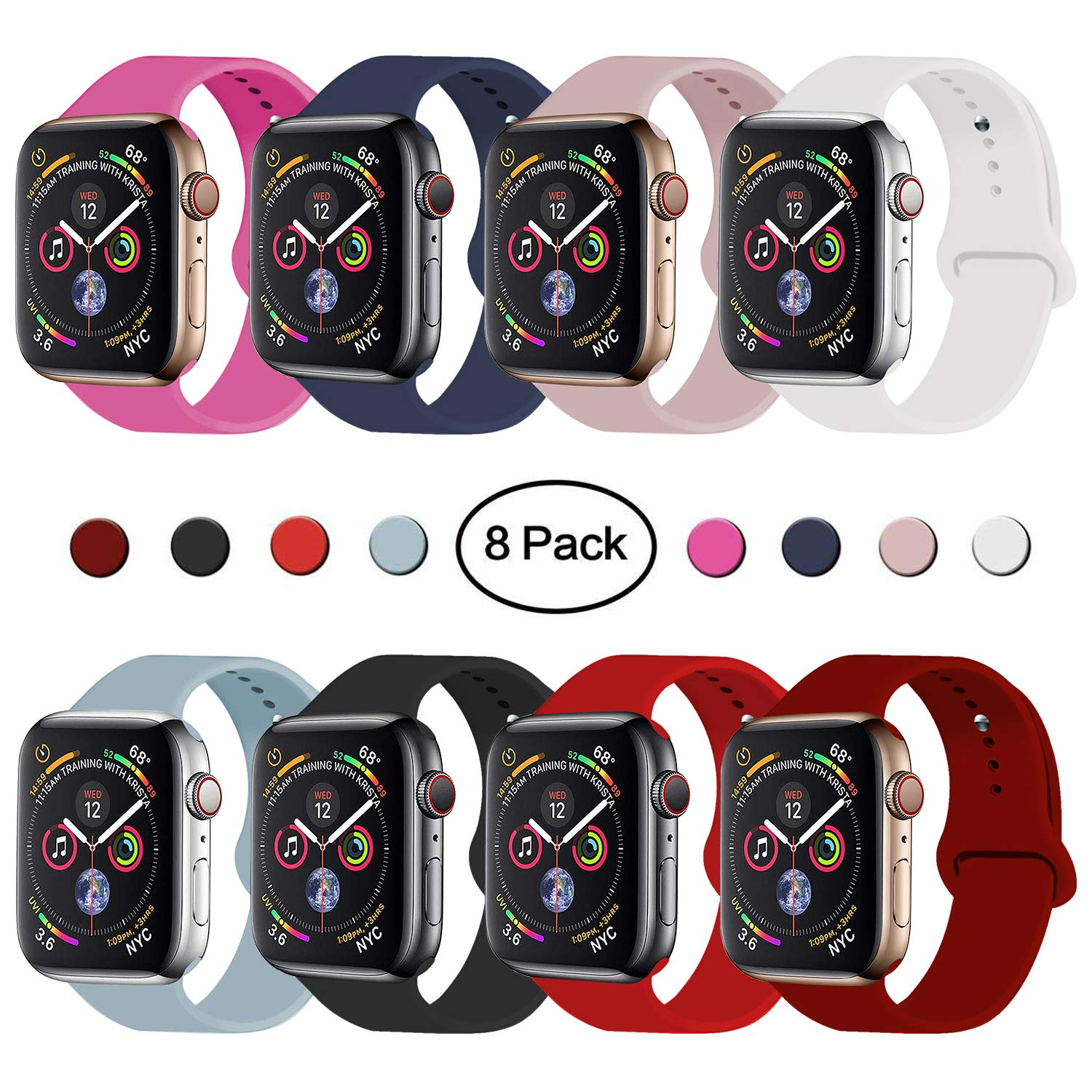 VATI Sport Band Compatible for Apple Watch Band 38mm 40mm, 8-Pack Soft Silicone Sport Strap Replacement Bands Compatible with 2018 iWatch Apple Watch Series 4/3/2/1, 38MM 40MM S/M by VATI