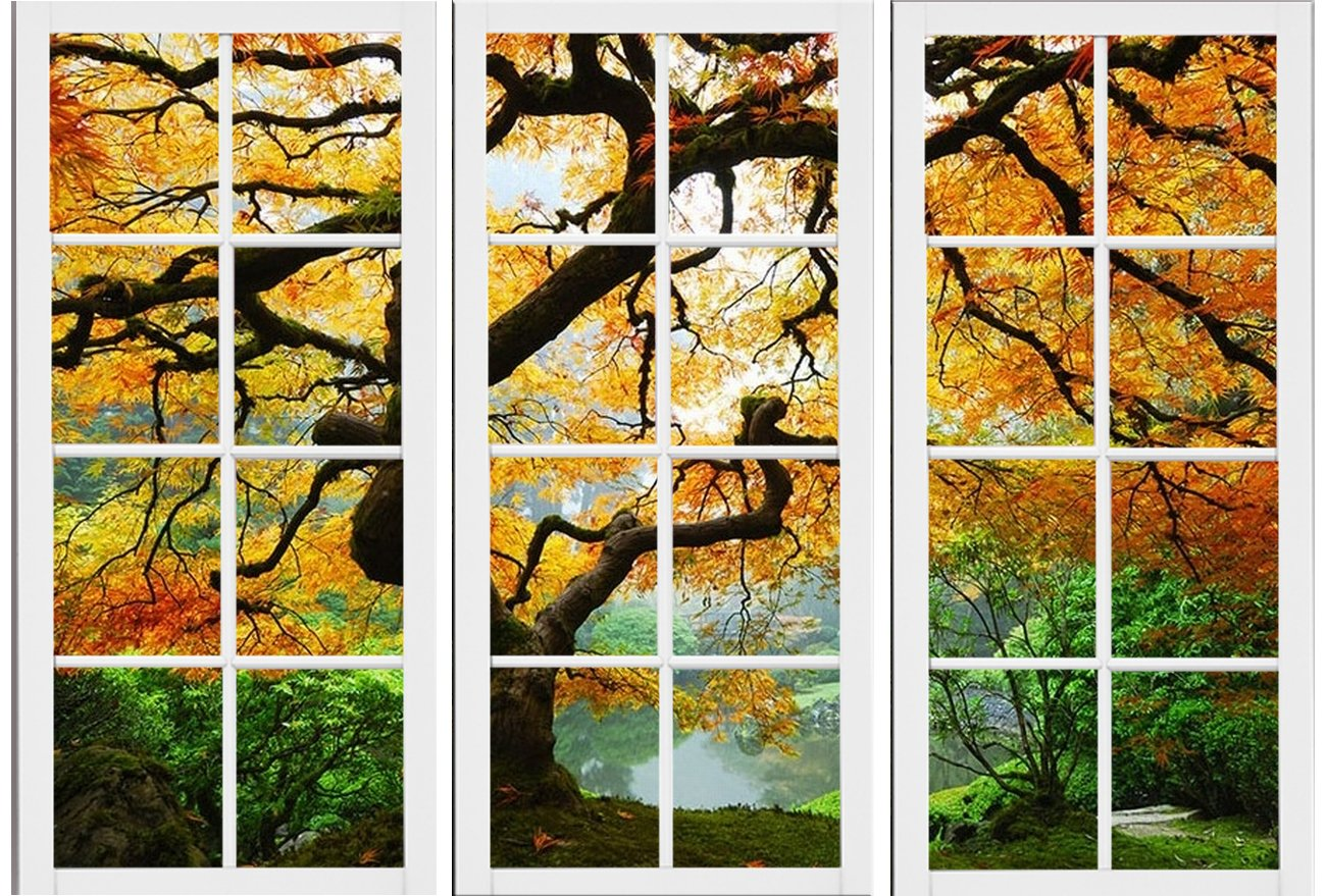 Amazon.com: Startonight Canvas Wall Art Maple At Window, Windows USA ...