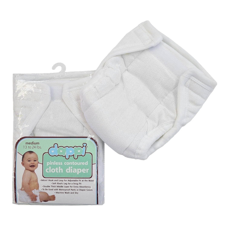 American Baby Company 50002 Dappi Pinless Contoured Cloth Diaper, Medium (White)