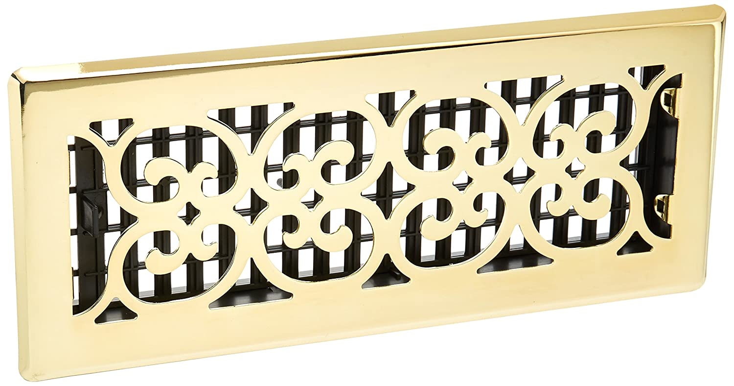 Decor Grates SPH412 Scroll Floor Register, Polished Brass Finish, 4 x 12-Inch
