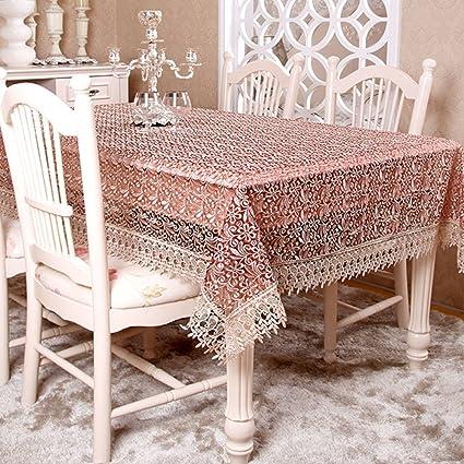 YAOHAOHAO Puntilla de ganchillo, bordados fabrictablecloth impreso antideslizante resistente al desgaste de Mantel de lino