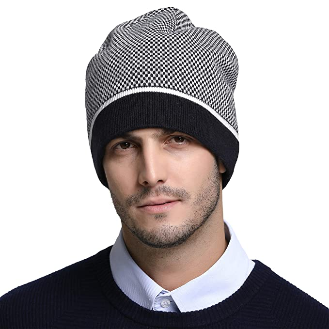 10529c473a8284 RIONA Men's Australian Merino Wool Knit Beanie Hat Warm Winter Skull Caps  Headwear (Navy): Amazon.co.uk: Clothing