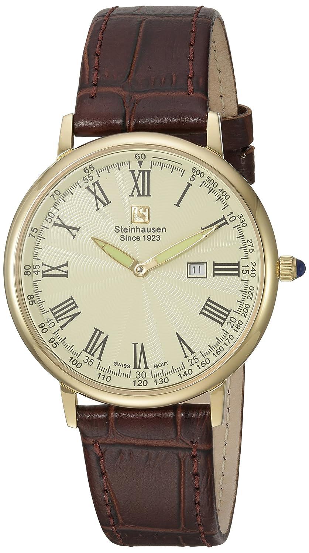 Steinhausen S0124 Klassische Herren Uhr Altdorf Swiss - Quarz - braunes Lederband - dÜnne Armbanduhr