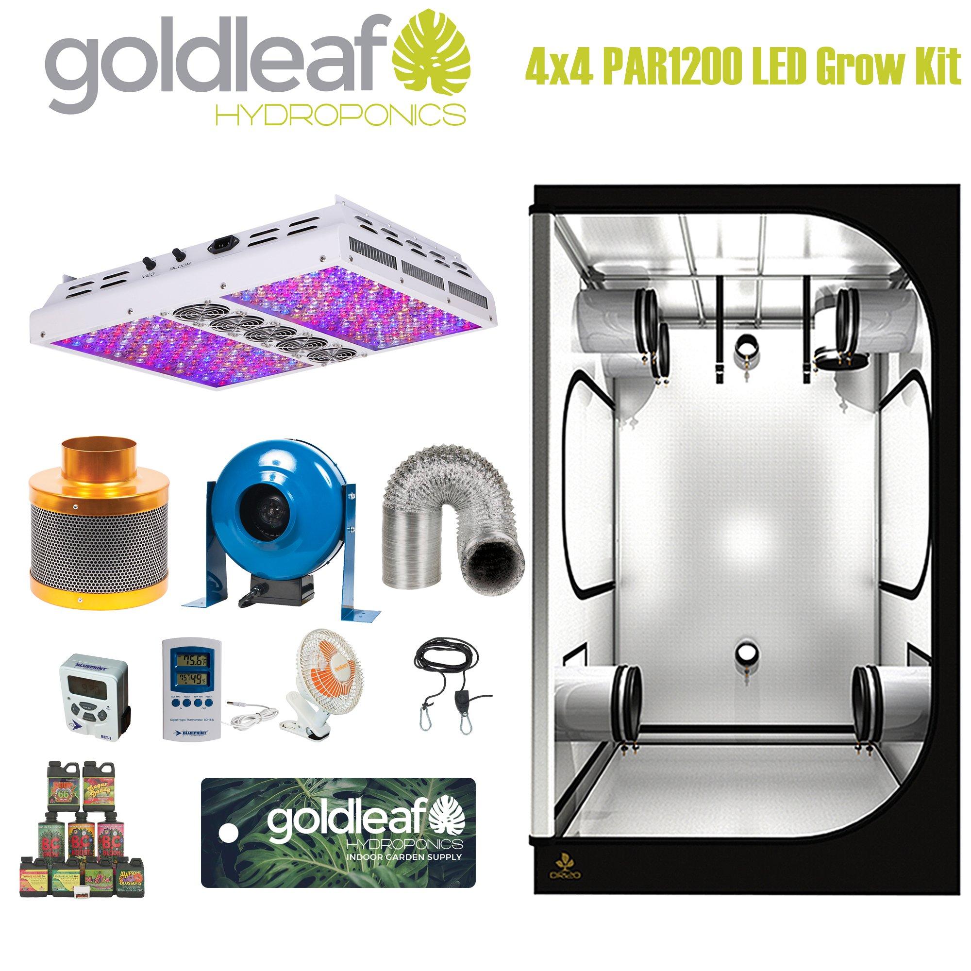 Complete 4 x 4 Grow Tent Kit w/ PAR1200 LED light, fan, carbon filter and more by Goldleaf Hydroponics