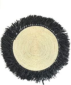 "16""-17"" Sôkôla Ronono - Handmade Fringed Basket Wall Hanging Raffia Sweet Grass Straw 100% Authentic Made by Women in Africa Boho Art"