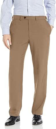 Haggar Mens ECLO Stria Expandable-Waist Plain-Front Dress Pant Dress Pants