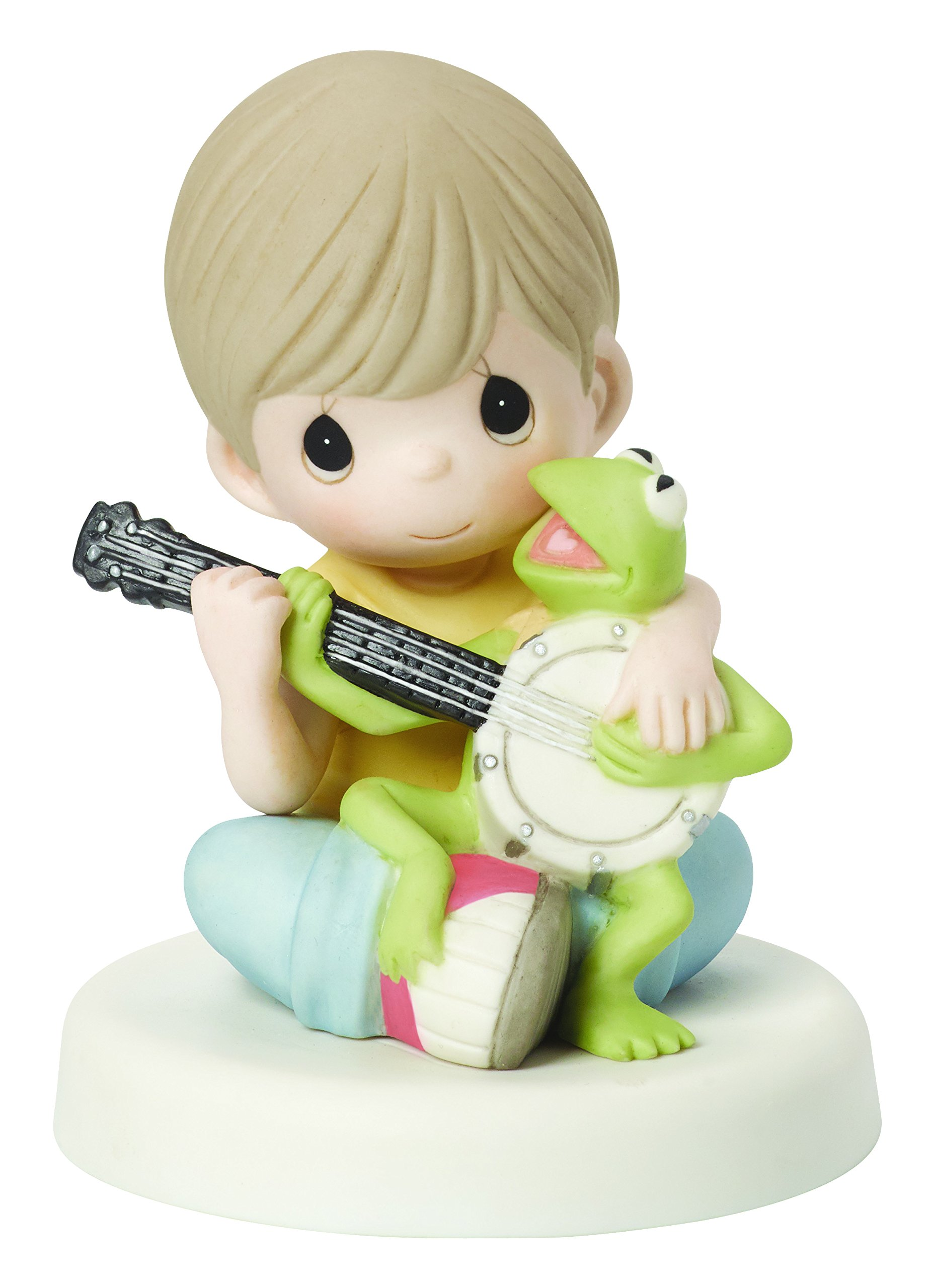 Precious Moments, Disney The Muppets, Music Is What Friendship Sounds Like Bisque Porcelain Figurine, Kermit, 154015