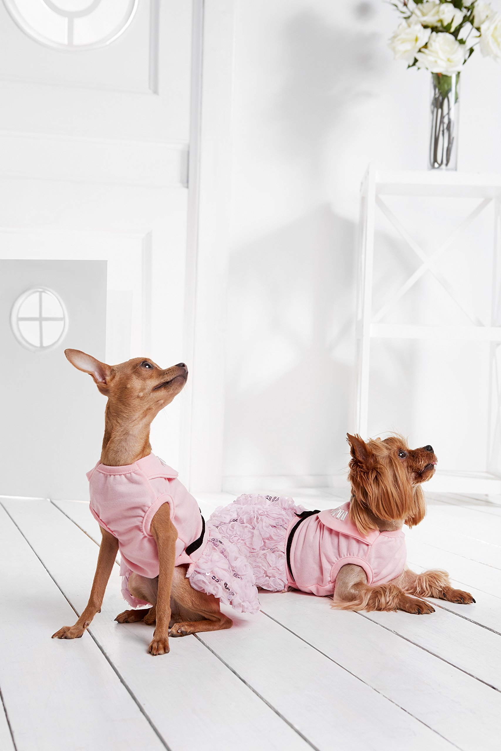 "Small Dog Elegant Dress With Sequins Chiffon Flowers Dogs Cotton Summer Clothes (Small Plus: 15"" / 9-18 lbs, Pink)"