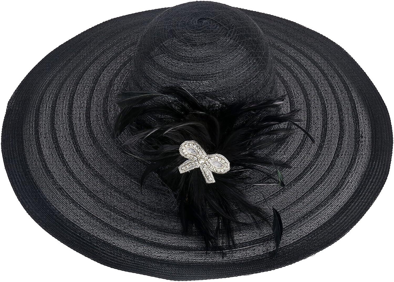 Womens Dress Church Kentucky Derby Wide Brim Feather Wedding Veil Sun Hat A265