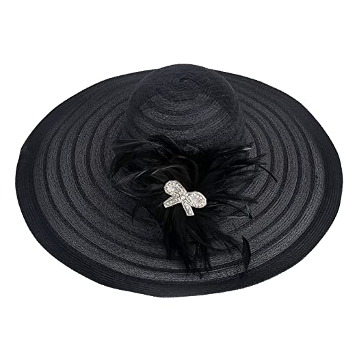 Womens Dress Church Kentucky Derby Wide Brim Feather Wedding Veil Sun Hat  A265 (Black) 5446723f0406