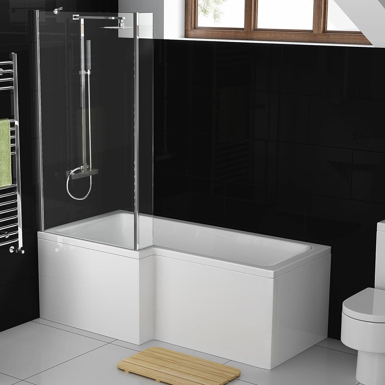 1700 mm Left Hand L-Shaped Modern Shower Bath with Glass Shower Screen Panel BL215