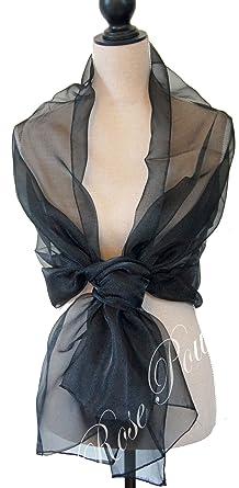 7ad8576af617 Rose Poudré Foulard étole en voile idéal céremonie ou soirée choix des  couleurs (Noir)