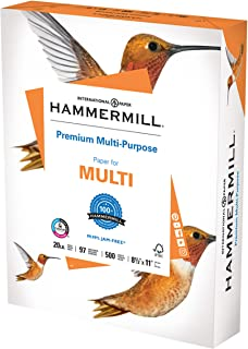 product image for Hammermill Printer Paper, Premium Multipurpose Paper 20 lb, 8.5 x 11 - 1 Ream (500 Sheets) - 92 Bright, Made in the USA