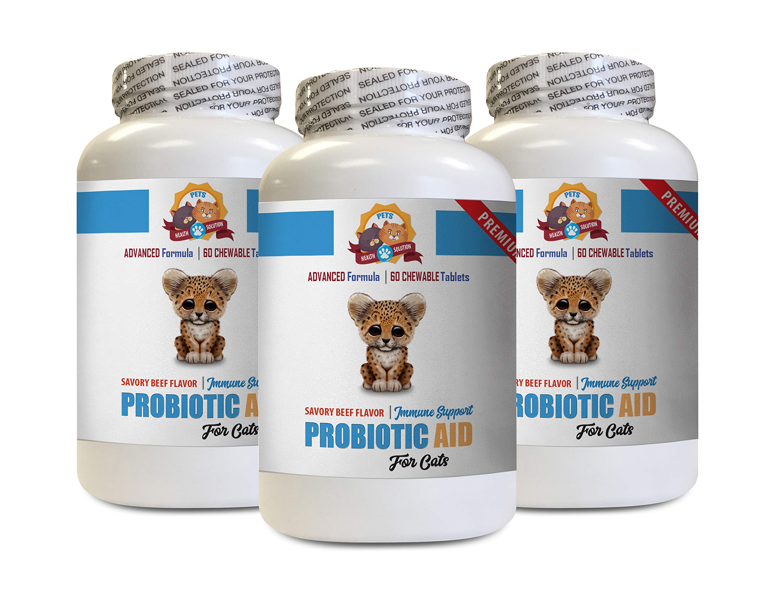 PETS HEALTH SOLUTION cat Digestive enzymes with probiotics - CAT PROBIOTIC AID - Premium Formula - Natural Digestive Helper - cat Digestive enzymes with probiotics - 3 Bottles (180 Treats) by PETS HEALTH SOLUTION