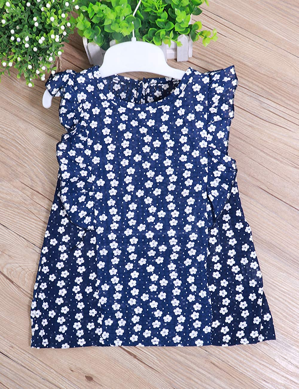 Little Toddler Girl Outfits Summer Floral Ruffle T-Shirt Vest Tops Shorts Pants Baby Kids Clothes Sets