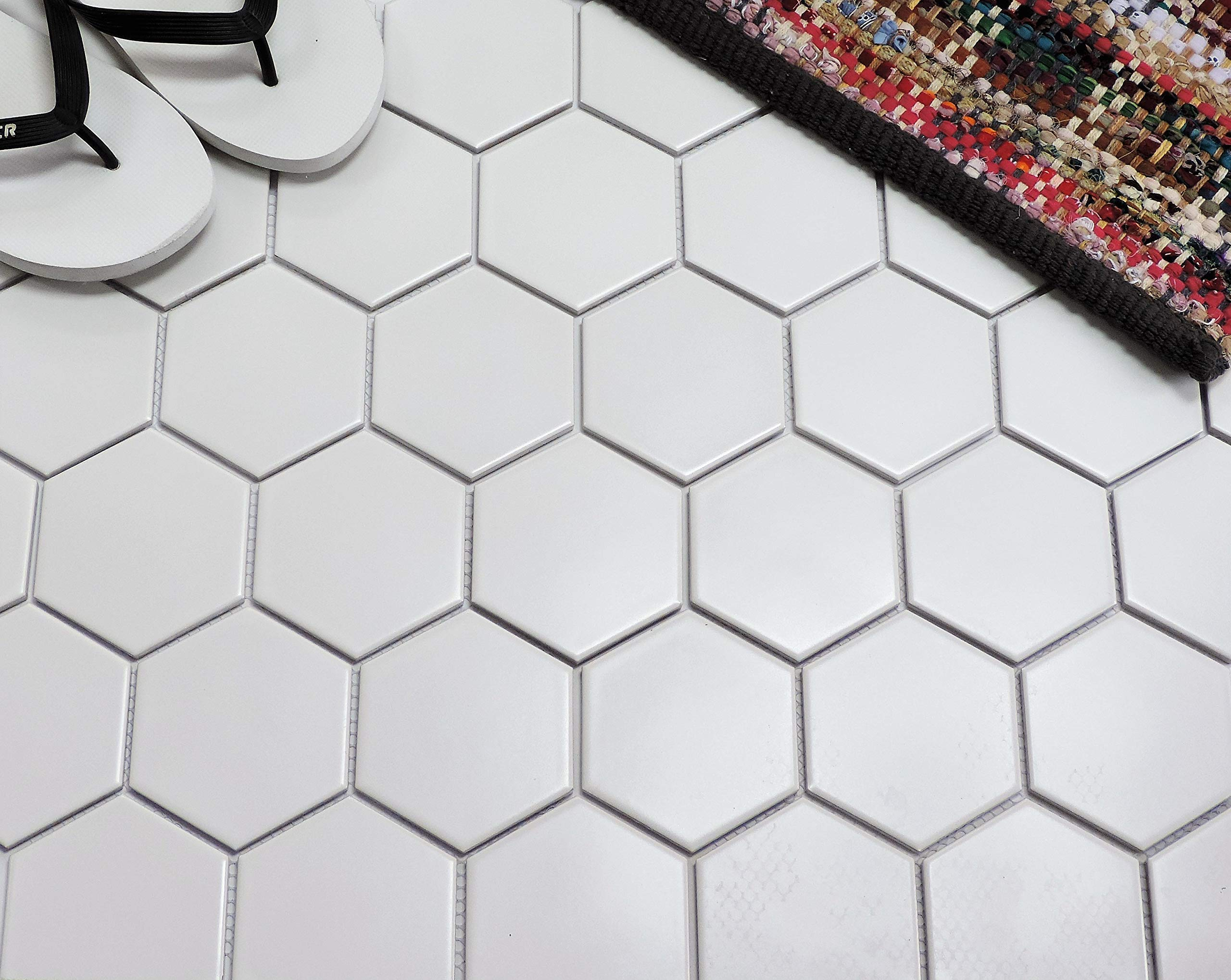 1/3 Sheet Sample - Glazed Porcelain Mosaic Tile Sheet Barcelona 4''x4'' Hexagon Matte White by The Mosaic Factory