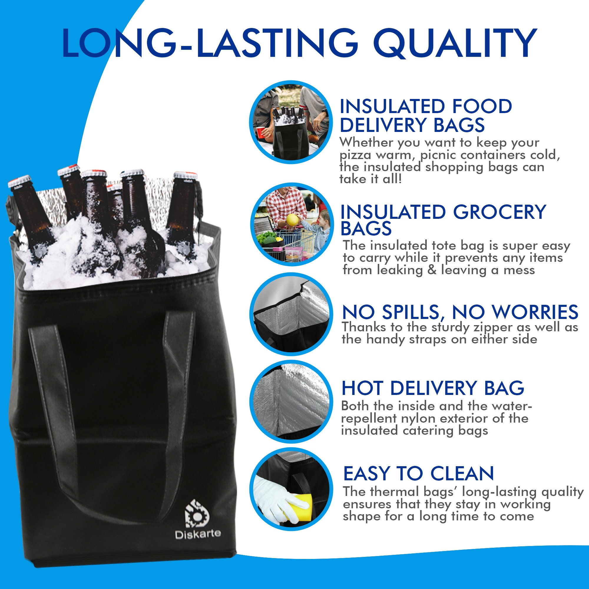 Commercial Quality Food Delivery Bag- 2 Piece Set Black Delivery Bag for Food- 13'' x 9'' x 9'' Dimensions- 80 GSM Nonwoven Polypropylene- Practical and Comfortable by Diskarte (Image #2)