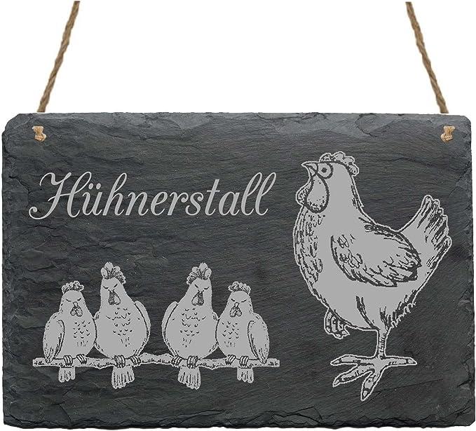Schild Dekotafel Schiefer Schiefertafel Zuhause ist Hühner Hühnerstall Türschild