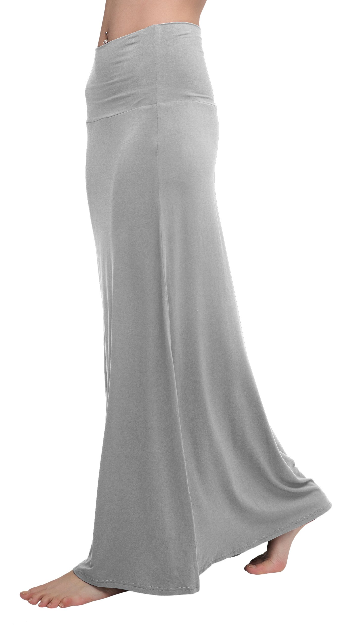 Urban CoCo Women's Stylish Spandex Comfy Fold-Over Flare Long Maxi Skirt (M, Light Gray)