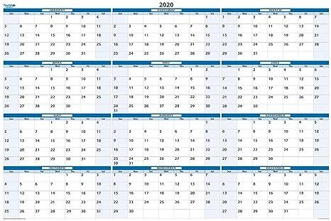 amazon com sky blue 2020 erasable wall calendar with no holidays