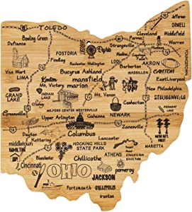 Airrioal Ohio State Shaped Bamboo Serving and Cutting Board, Texas State Gifts for Home, Kitchen Wall Art Decoration (Ohio)