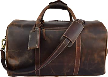 Small Leather Air Cabin Vintage Duffle Luggage Weekend Gym Overnight Travel Bag