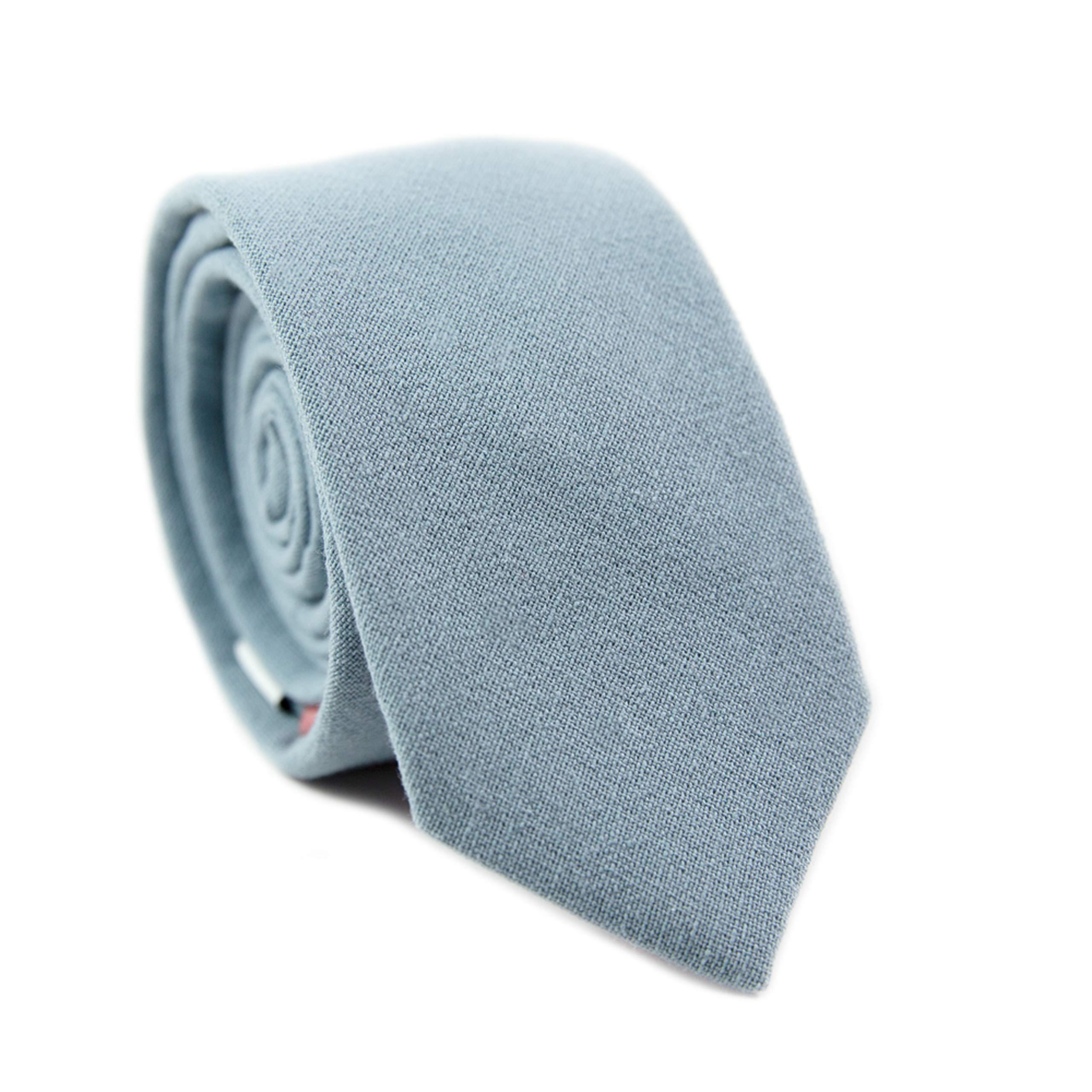 DAZI Men's Skinny Tie, Cotton Wool Linen Necktie, Great for Weddings, Groom, Groomsmen, Missions, Dances, Gifts. (Dusty)