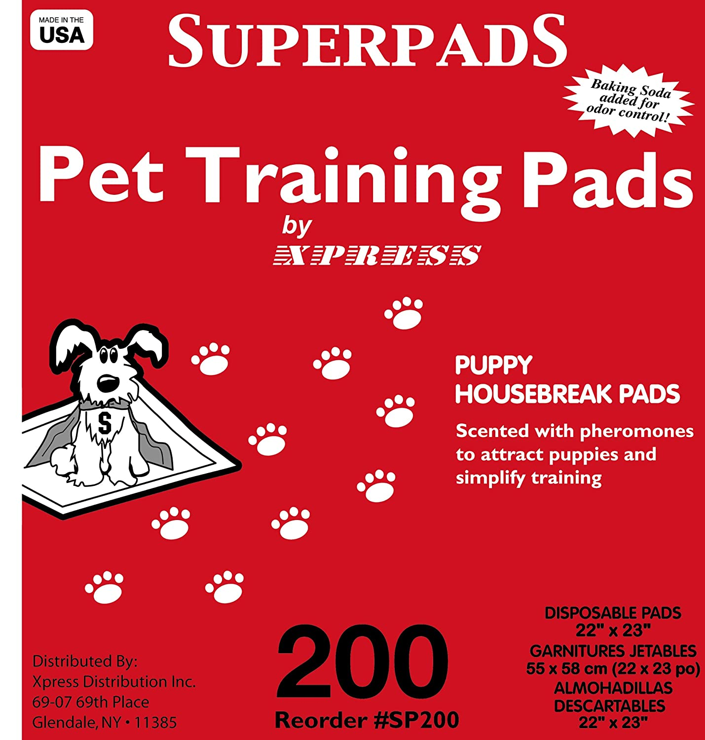 Superpads Original 22 x 23 Inch Pet Training Pads 200 Pack