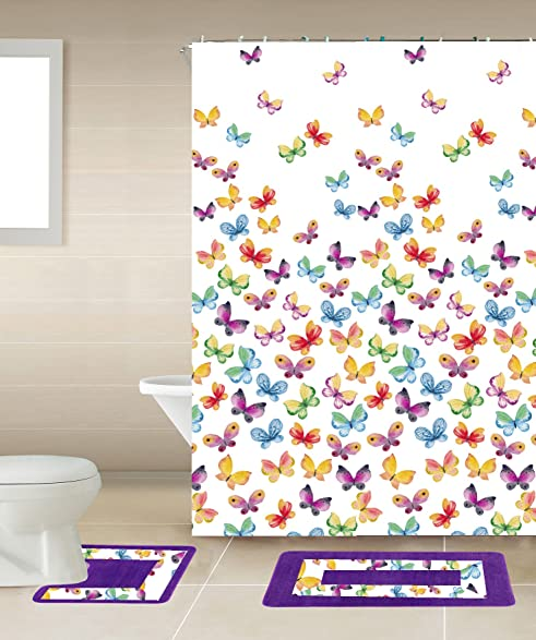 GorgeousHome New Designs 15PC Printed Banded Bathroom Rug Bath Mats Set With Fabric Matching Shower Curtain